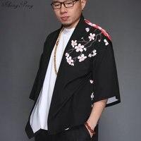 Japanese kimono yukata kimino haori cardigan men kimino robe for men black print japanese tops Haori Japan clothing Q630