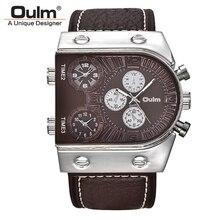 Original Fashion Designer Brand Quartz Watches Men 3 Time Zone Big Face Genuine Leather Watch Sports Male Clock