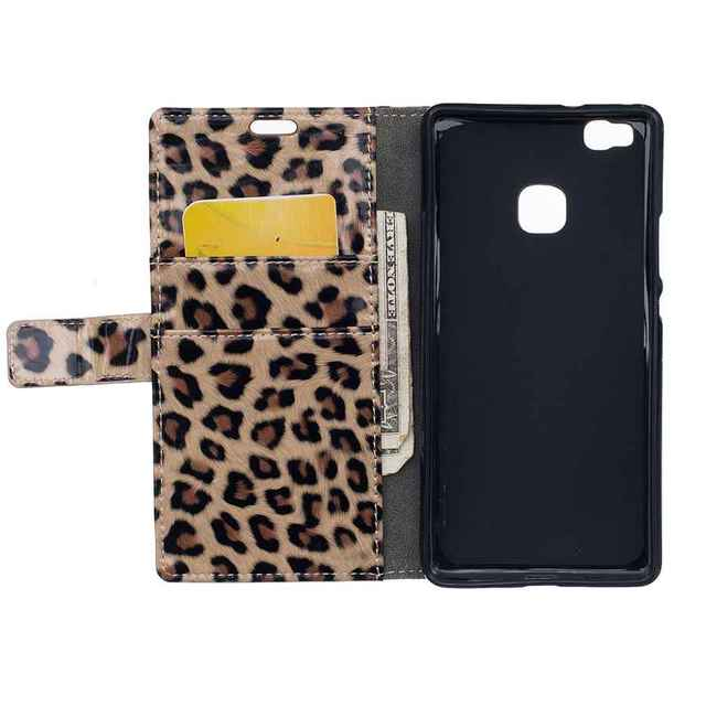 """Fundas Coque for Huawei P9 Lite Leopard Leather Case for Huawei P9 Lite/VNS-L31 5.2"""" Handmade Phone Accessories for Girls Women"""