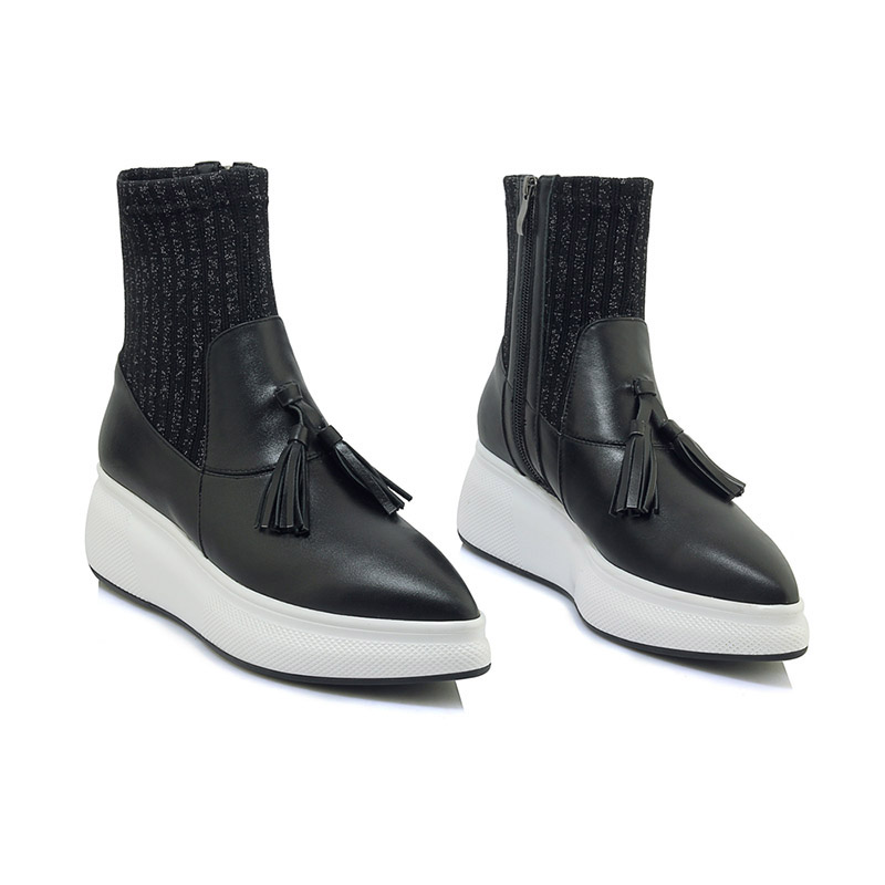 nappa Black Casual Women Stretch da punta Fashion pelle Scarpe punta con donna New a Wetkiss in Boots Sock Donna 2018 a basse stivale fBqxnwwU8