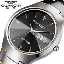 Original Brand GUANQIN Watch Men Tungsten Steel Strap Watches 30m Waterproof Crystal Quartz Wristwatches