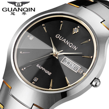 Original Brand GUANQIN Watch Men Tungsten Steel Strap Men Watches 30m Waterproof Crystal Quartz Watches Wristwatches