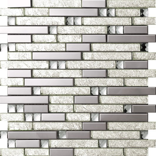 купить Crystal Glass Metal Backsplash,Kitchen Bathroom livingroom Border DIY Home decor sticker,Silver foil wallpaper,SA047-17 недорого