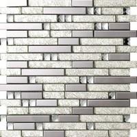 Silver foil Crystal Glass Metal Kitchen Backsplash,Bathroom,living room,Home wall decor mosaic tiles,Border DIY mosaic,SA047 17