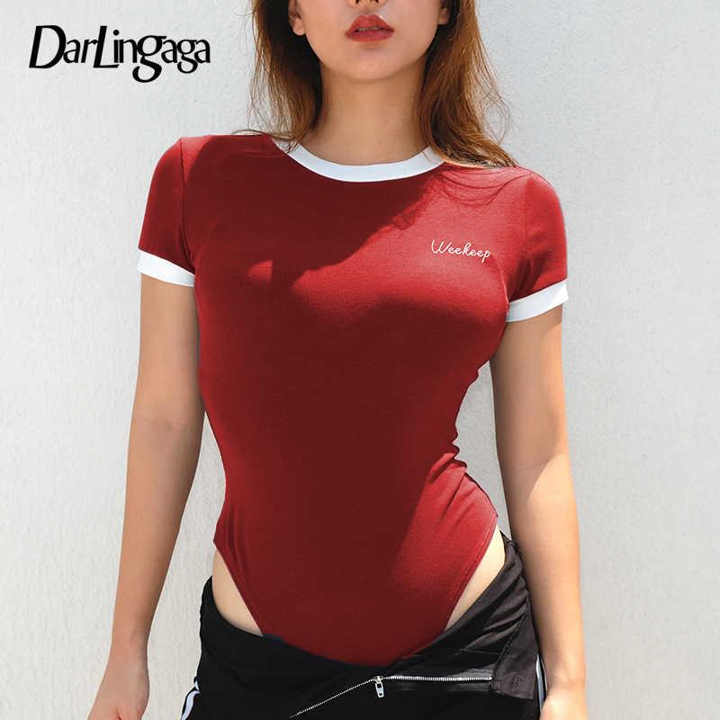 Darlingaga хлопковый повседневный летний боди с коротким рукавом для женщин с вышитыми буквами, контрастный цвет, Комбинезоны для женщин, комбинезон 2019 боди