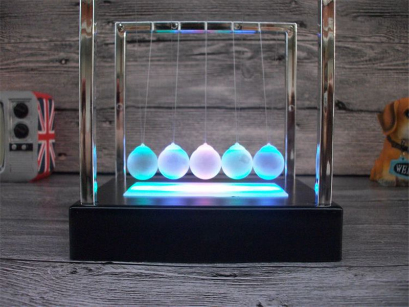 Electric Led Newtons Cradle balls decor Physics teaching Newton pendulum ball home office decoration Figurine Gift Craft