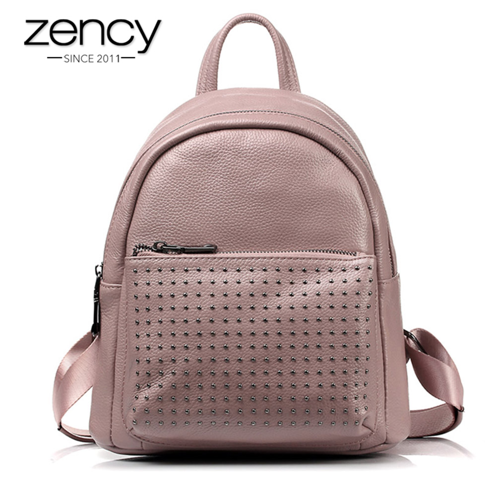 Zency 100% Genuine Leather Holiday Women Backpack With Rivet Preppy Style Schoolbag For Girls Fashion Travel Knapsack Taro Pink цена