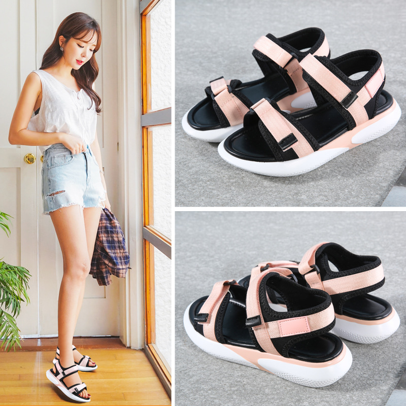 Sandals female 2019 new wild sports fashion fairy casual ladies summer flat women's shoes(China)