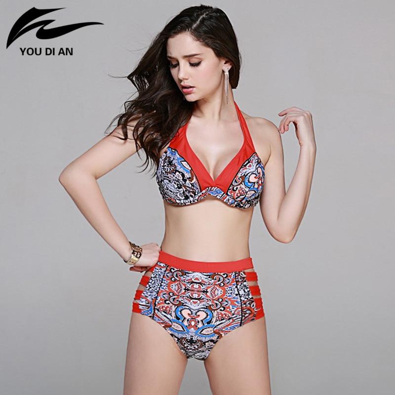ФОТО 2017 New Bikini Set Push Up Vintage Swimwear Brazilian Maillot De Bain Bottom Top Swimsuit Competitive Bathing Suit