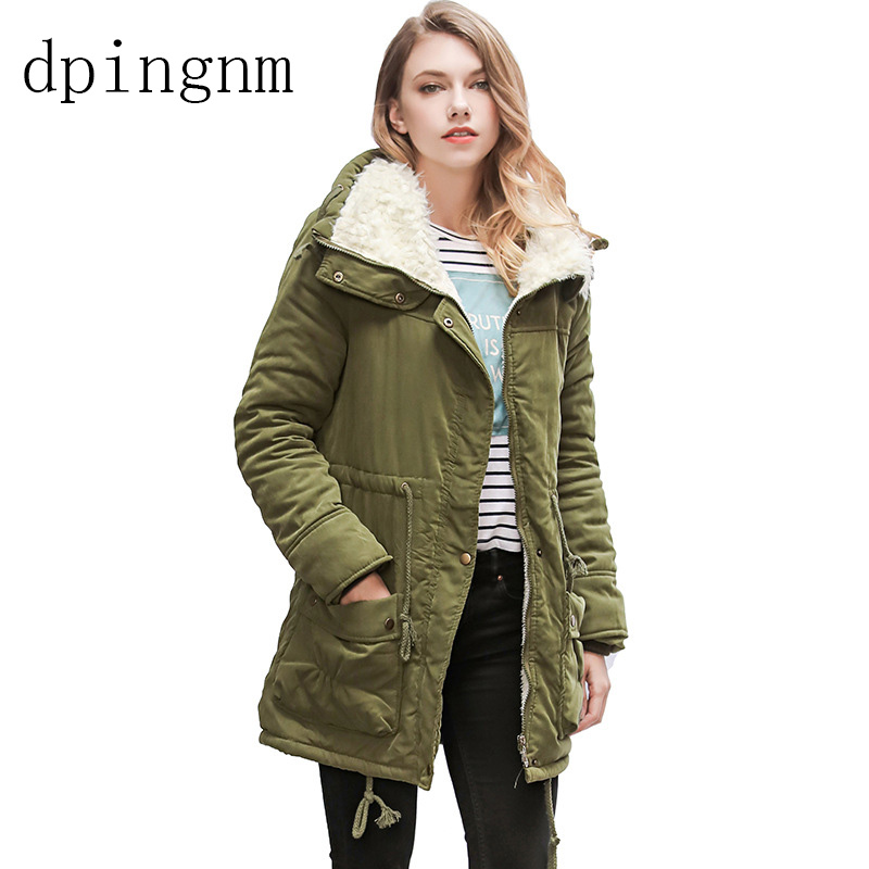 Autumn Winter Jacket Women   Parka   Warm Jackets Fur Collar Coats Long   Parkas   Hoodies Office Lady Cotton Plus Size
