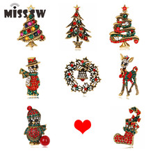 Christmas Gifts Nice Red Shoe Boot Tree Animal Brooches Pins for Women Full Rhinestones Christmas Brooches for the New Year