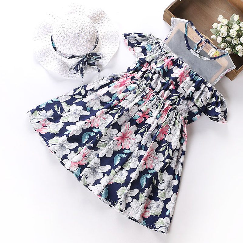 Sodawn High Quality Baby Girls Clothes 2018 Summer Print Design Princess dress + hat Fashion Girls Children Clothes Girls Dress