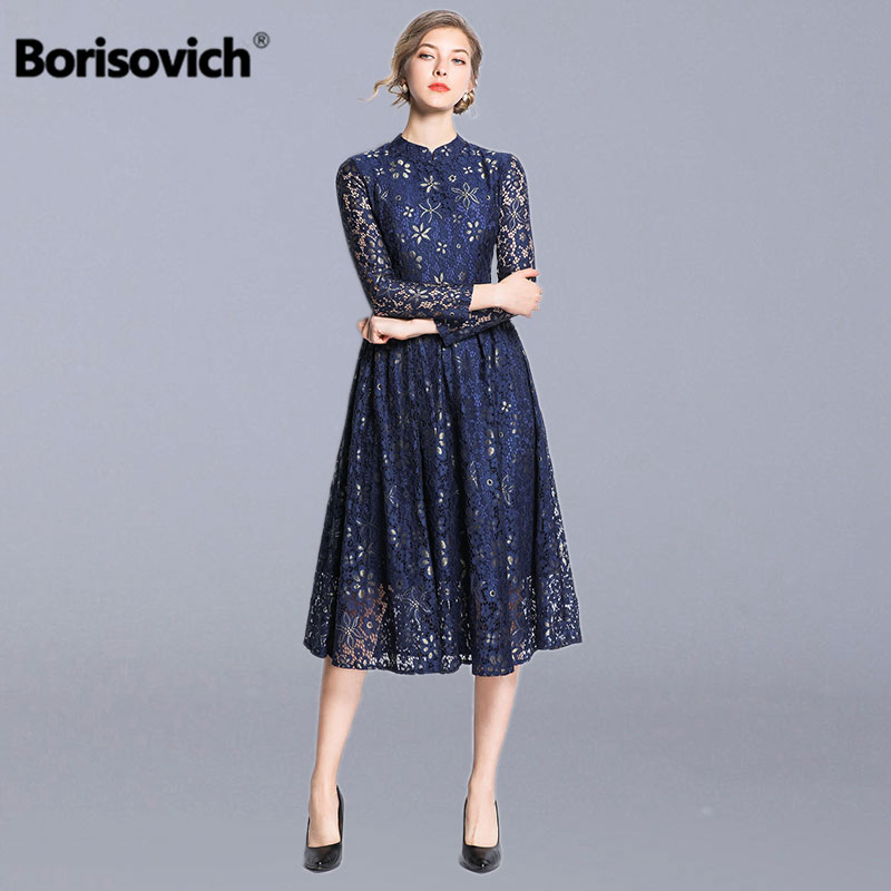 Borisovich Ladies Elegant A line Party Dress New Brand 2019 Spring Fashion Hollow Out Lace Women