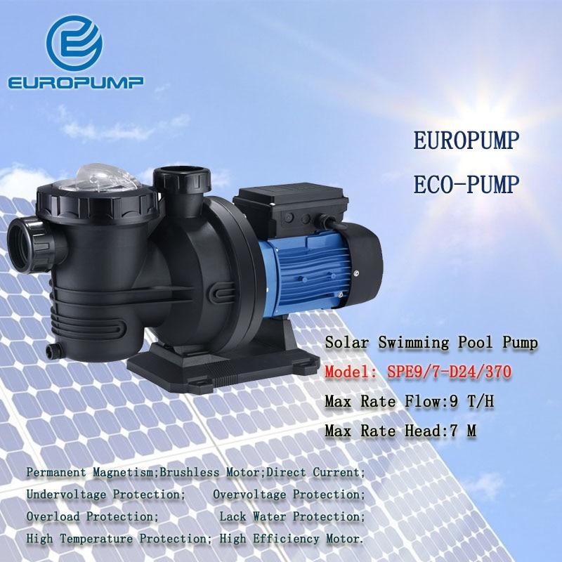 Еуропумп модель (SPE9/7 D24/370) DC солнечной энергии плавательный бассейн насосы сад насос 2 года гарантии высокой скоростью потока солнечной пове