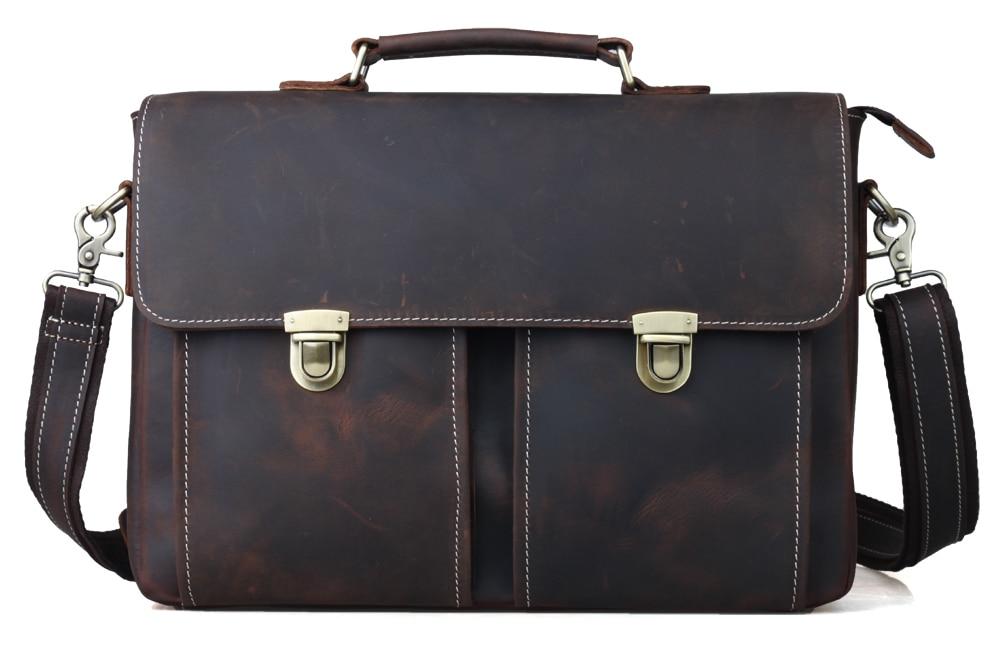 cheap authentic designer handbags 7hwo  Top Grade Cow Leather Portfolio Office Briefcase Men Authentic Designer  Handbags Vintage 14'' Laptop Brief Case Messenger Brown