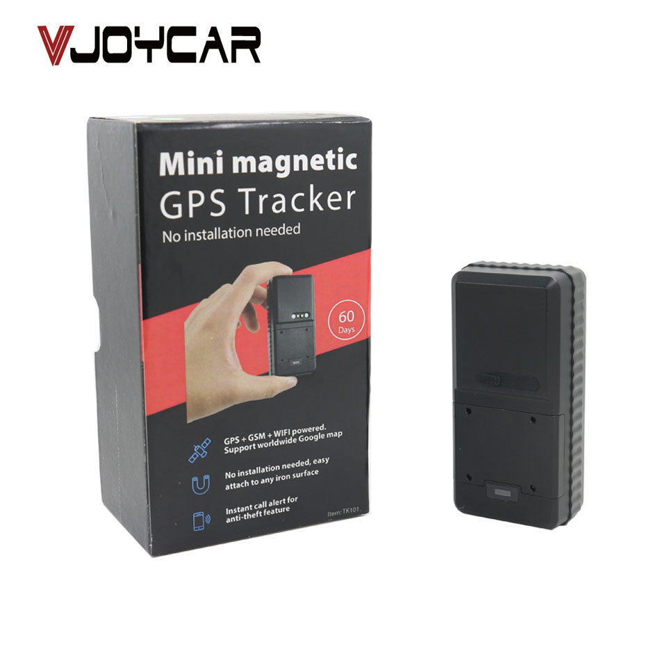 VJOYCAR TK101 Mini Magnetic Waterproof GPS Tracker Easy To Carry Hidden 3000mAh Rechargeable Battery FREE Tracking Software vjoycar tk05sse 5000mah rechargeable removable battery solar gps tracker gsm gprs waterproof magnet locator free software app