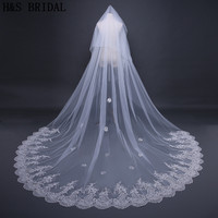 H S BRIDAL Romantic Ivory 3 Meters Wedding Veils Cathedral Veil Lace Edge One Layer Bridal