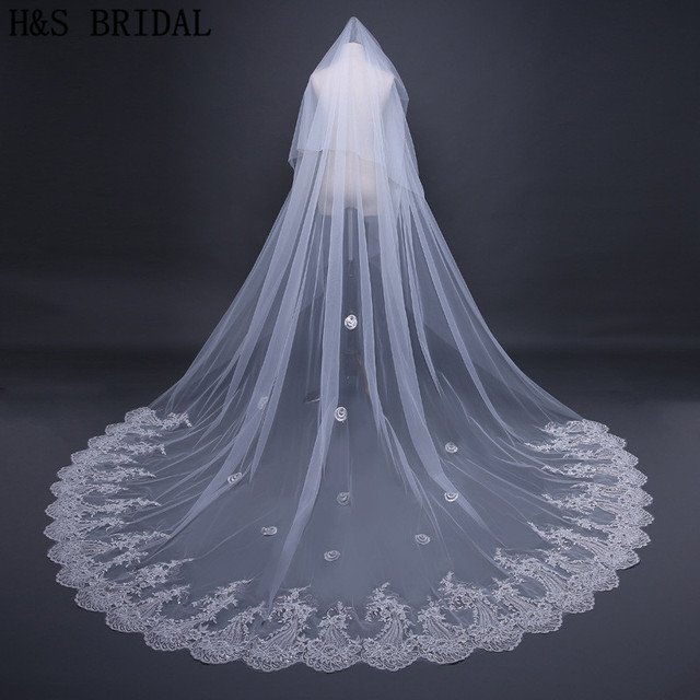 HS BRIDAL Romantic Ivory 3 Meters Wedding Veils Cathedral Veil Lace Edge One Layer Bridal
