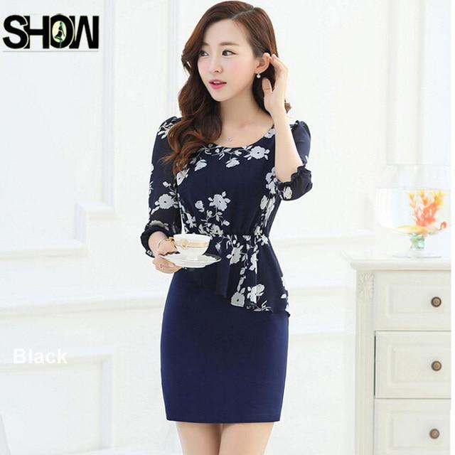 2015 New Arrival Hot Sale Fashion Korean Style Women Formal Elegant Work Wear Slim Hip Floral