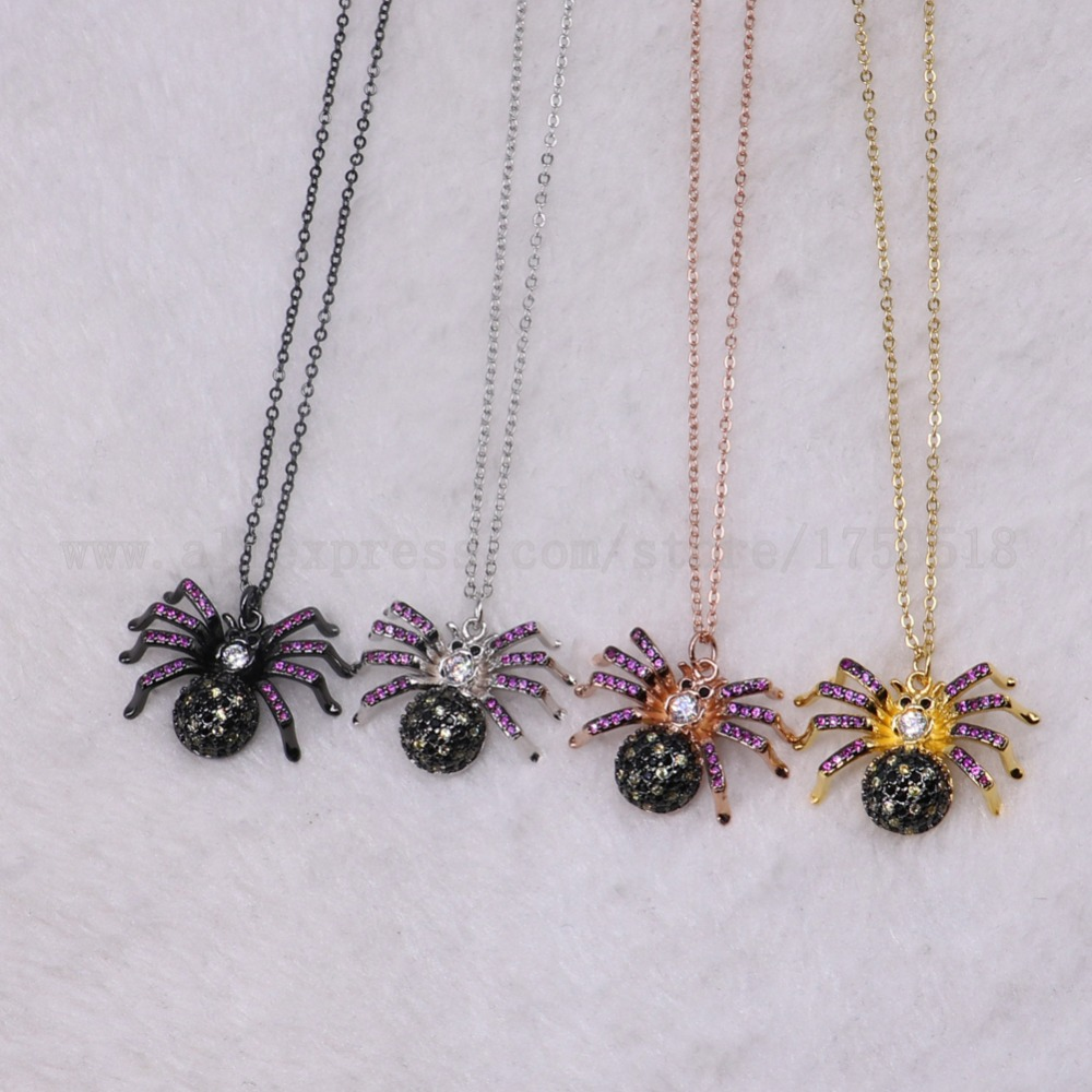 5 strands spider necklace bugs insects for lady Bee pendants small size jewelry 18 mix color necklace pets beads 3220