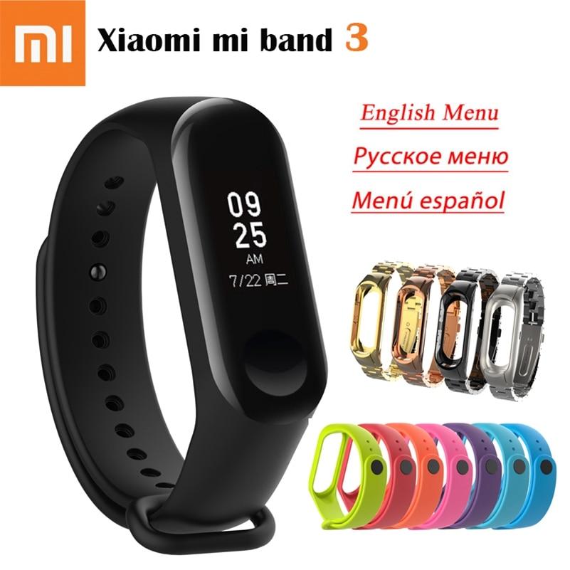 Original Xiao mi banda 3 pulsera inteligente 0,78 pulgadas OLED Fitness Tracker identificador 5ATM impermeable mi banda 3 idioma Mundial