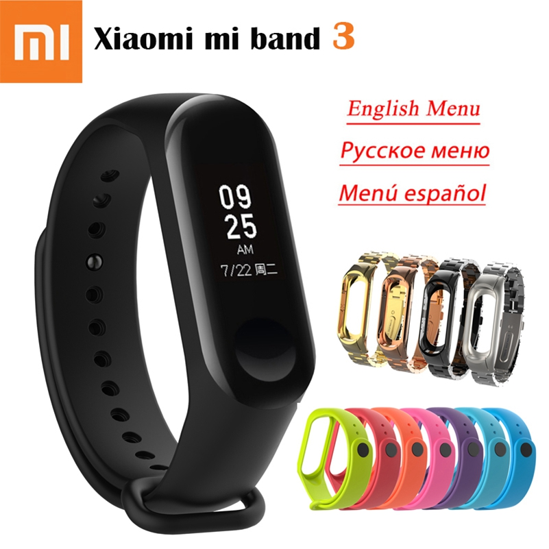 Original Xiao mi mi Band 3 Smart Armband 0,78 zoll OLED Fitness Tracker Anrufer ID 5ATM Wasserdichte mi Band 3 globale Sprache