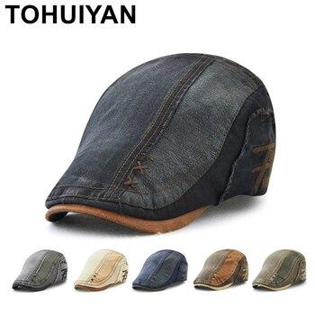 TOHUIYAN ผู้ชายผู้หญิงผ้าฝ้าย Vintage Patchwork Newsboy หมวก Duckbill Visor Casual Cabbie Beret Caps Strapback แบนหมวก Ivy