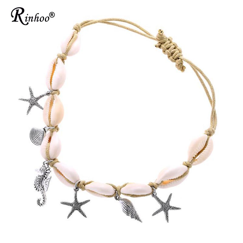 Rinhoo Jewelry Anklet For Women Foot Accessories Summer Beach Barefoot Sandals Bead Bracelet Ankle On the Leg Female Strap