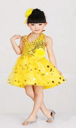 10pcs/lot free shipping children sequined short dress backless halter dress latin performance cute lovely  dancing dress