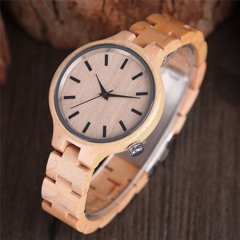 Women Wood Wrist Watch Nature Bamboo Handmade   Ladies Bracelet Casual Sport Full Wooden Bangle Clasp Anolag Gift handmade full bamboo wooden wrist watch beautiful woman simple timber quartz ladies watches nature wood fold clasp bangle clock