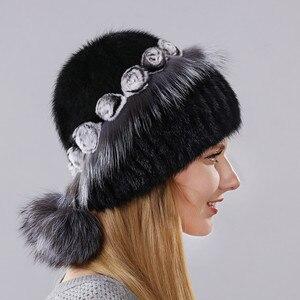 Chapéu Morno do Inverno das mulheres de Vison Importado Com As Pequenas Flores Cercam O Cap Feita De Pele De Coelho E Raposa pele E Bolas de Menor
