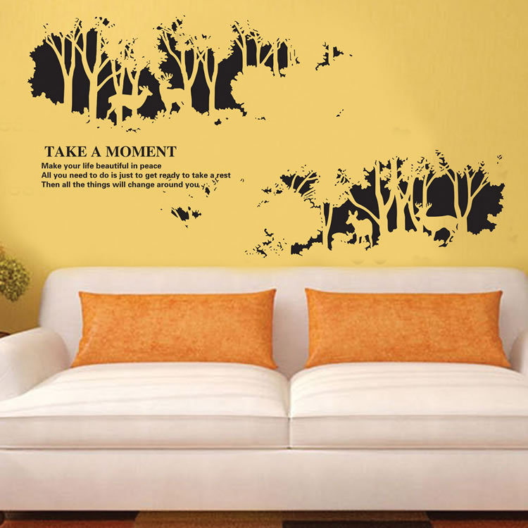 Novelty Black Wall Stickers Home Living Room Self Adhesive Decoration Deer  Forest Wallpaper Mural In Wall Stickers From Home U0026 Garden On  Aliexpress.com ...