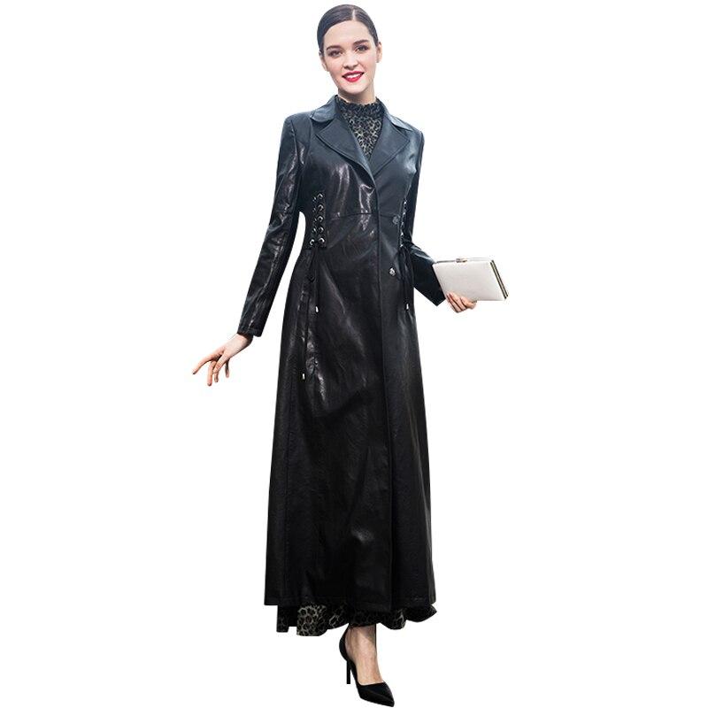 En Pardessus Long Cuir Femmes 2018 Col Hiver Noir Manteau Automne Rabattu Vestes Tranchée Pu Dr1014 FOxtwCq