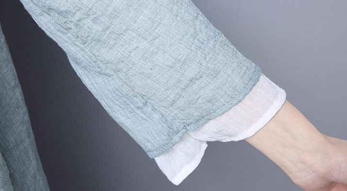 夏 & 春グレー/グリーン/パープル女性のコットン & リネン太極拳スーツ禅修道女シャツレイ瞑想制服カンフー Tシャツ