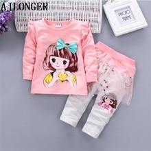 цена на 2017 Autumn Winter Baby Girls Clothes Sets Cartoon T-shirt & Pants 2pcs Outfits Kids Clothes Princess Suit For Girls Children