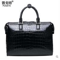 Pugete Crocodile Skin Belly Handbag Male Bag Leather Business Men S Men S Briefcase Large Capacity