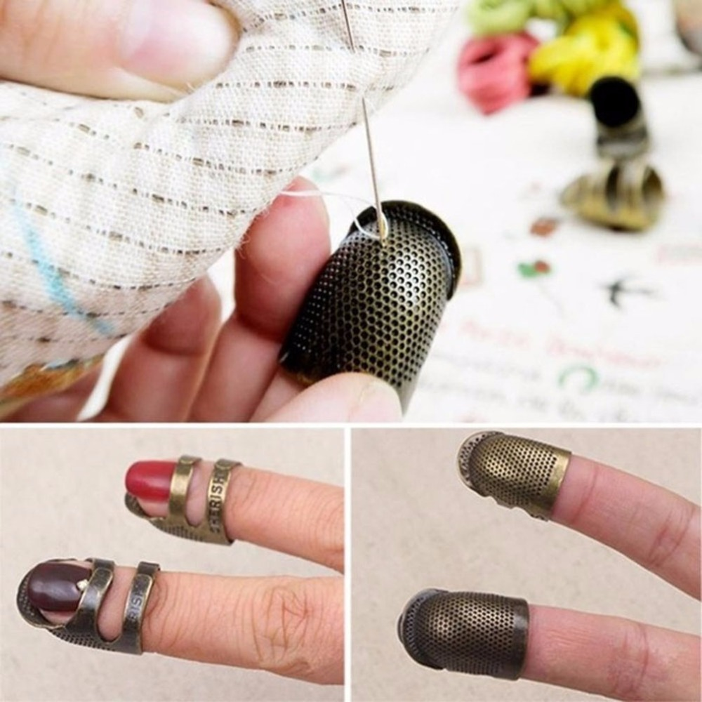 Retro Handworking Sewing Thimble Finger Protector Ring Needle Metal Brass Thimble Needles Sewing Accessories