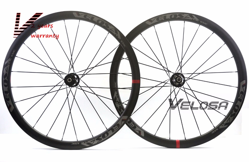 Velosa Disc AS35 Road Disc Brake asym wheelset, 35mm clincher/tubular 700C cyclocross bike carbo wheel,Asymmetrical rim velosa supreme 50 bike carbon wheelset 60mm clincher tubular light weight 700c road bike wheel 1380g