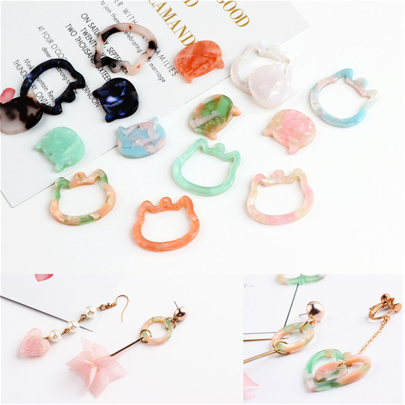 Hottest Cute Jewelry Earring Decor Charms 30PCs/Lot Kawaii Animal Cat Head Environmental Protection Acrylic Acetic Acid Charm