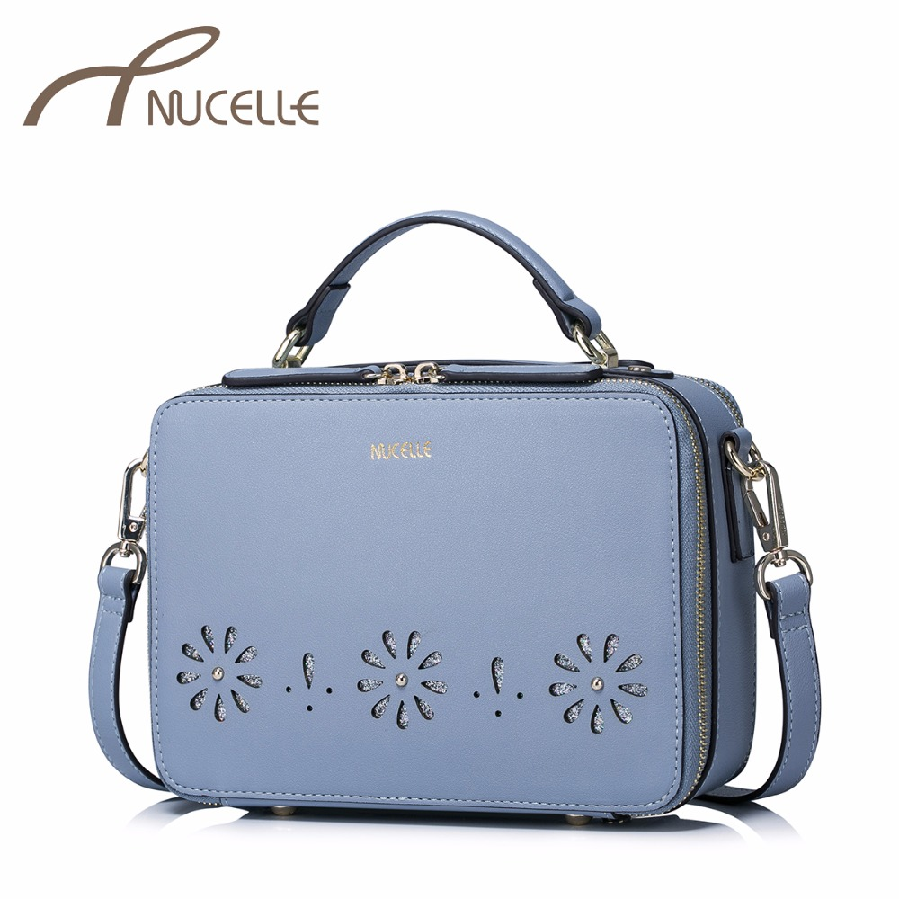 NUCELLE Women PU Leather Handbags Ladies Fashion Flower Hollow Out Messenger Tote Purse Female Leisure Brief Flap Bag NZ41021