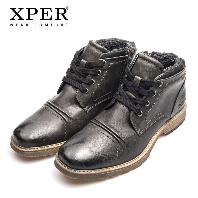 XPER מותג חדשות מגפי אופנה חורף נעלי אפור רטרו אופנוע מגפי גברים שרוכים נעליים עמיד למים רוכסן רומא # XHY14001