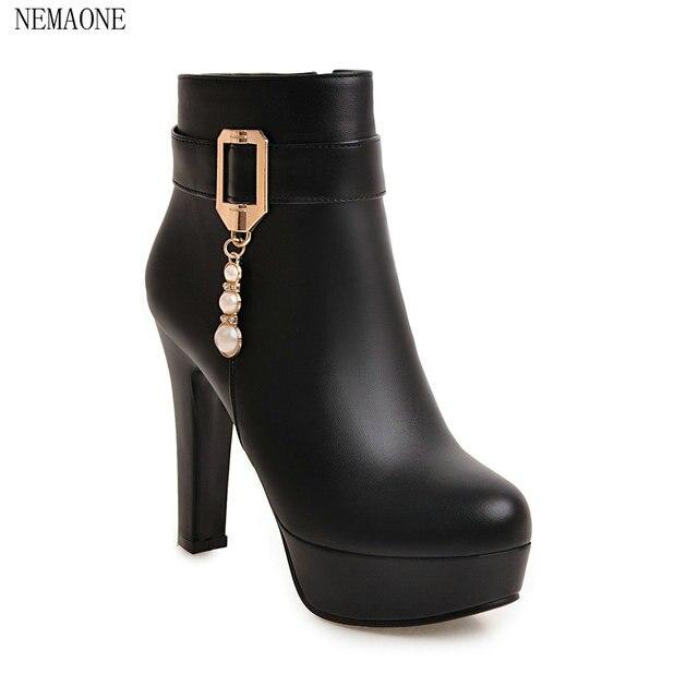 420f5e411c NEMAONE moda Mujer Botas tacones altos tobillo Botas zapatos de plataforma  marca Mujer Zapatos Otoño Invierno