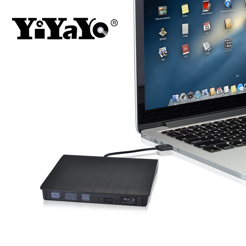 цена на YiYaYo Bluray drive External USB 3.0 DVD Drive Blu-ray Play 3D movie 25G 50G BD-ROM CD/DVD RW Burner Writer for Windows 10