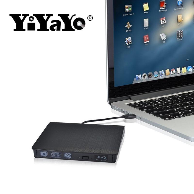 YiYaYo Bluray drive External USB 3.0 DVD Drive Blu-ray Play 3D movie 25G 50G BD-ROM CD/DVD RW Burner Writer for Windows 10 MAC
