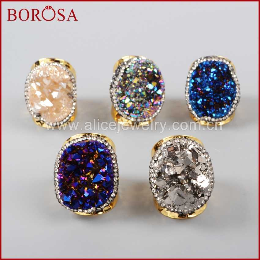 BOROSA Gold สีสายรุ้งคริสตัลไทเทเนียม Druzy ควอตซ์แหวนทองแดงประดับ Zircon สำหรับผู้หญิง JAB255