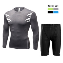 Men Boy Swim Top T Shirt Trunks Boxers Shorts Swimwear Short Pants SwimSuit Swimming Wear Long Sleeves for Beach Spa Pool kkj76