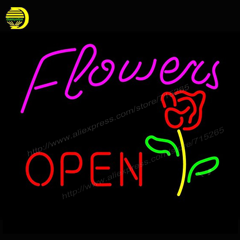 Neon Sign Flowers Open Glass Tube Neon Publicidad Affiche Neon Bulbs Handcrafted Recreation Home Room Wall Iconic Sign 17x14