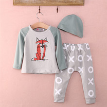 3pcs Cotton Newborn Kids Baby Boy Girl Clothes Fox Print Hoodie Sweatshirt Long Pants Outfits Set