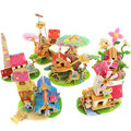 Kids DIY Toys Wood 3D House Puzzle Model Building Kits Wooden Educational Toys 6 Designs For Choose Drop Shipping HT238