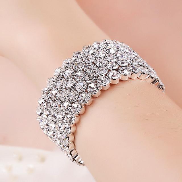 5 row 6mm Pulseiras 6 cm de diâmetro acessórios Estrelado imitação bracelete de diamantes completa largura moda S02